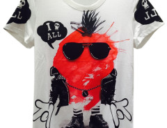 White Unisex Sunglasses Cartoon Skull And Letter Print T-shirt Choies.com online fashion store USA