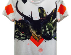 White 3D Unisex Geometry Tiger And Deer Print Short Sleeve T-shirt Choies.com online fashion store USA