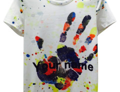White Splash Hand And Letter Print Short Sleeve T-shirt Choies.com online fashion store USA