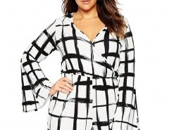 Plus Size Bell Sleeve Romper in Grid Check Chicnova online fashion store China