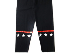 Black Contrast Stripe And Star Patch Leggings Choies.com online fashion store USA