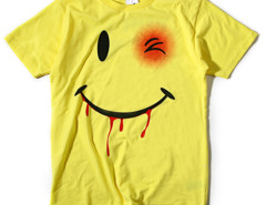 Yellow Funny Smiling Face And Letter Print T-shirt Choies.com online fashion store USA