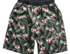 Green Tropical Print Elastic Waist Shorts Choies.com online fashion store USA