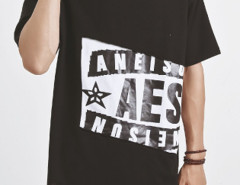 Black Color Block Spilt Front Letter Print T-shirt Choies.com online fashion store USA