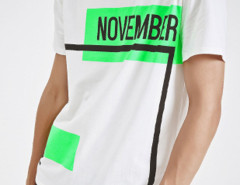 White Color Block Letter Print T-shirt Choies.com online fashion store USA