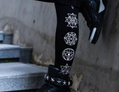 Black Side Symbol Print Leggings Choies.com online fashion store USA