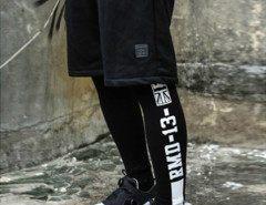 Black Color Block Side Letter Print Leggings Choies.com online fashion store USA