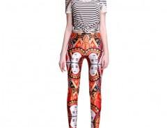 Leggings in Contrast Print Chicnova online fashion store China