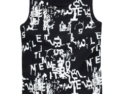 Black Graffiti Letter Print Vest Choies.com online fashion store USA