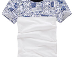 White Aztec Print Contrast Collar Short Sleeve T-shirt Choies.com online fashion store USA