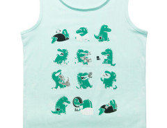 Aqua Cute Little Dinosaur Print Vest Choies.com online fashion store USA