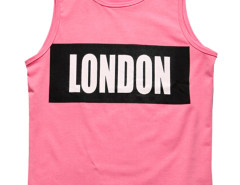 Pink Contrast Letter Patch Vest Choies.com online fashion store USA