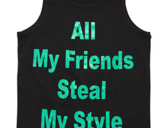 Black Contrast Letter Print Vest Top Choies.com online fashion store USA