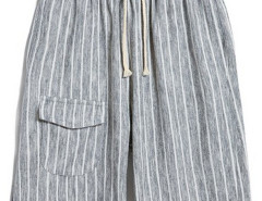 Gray Stripe Drawstring Waist Shorts Choies.com online fashion store USA