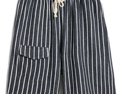Monochrom Stripe Drawstring Waist Shorts Choies.com online fashion store USA