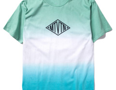 Green Contrast Dip Dye Geo And Letter Print T-shirt Choies.com online fashion store USA