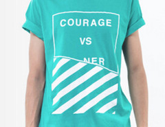 Tiffany Blue Contrast Letter And Stripe Print T-shirt Choies.com online fashion store USA