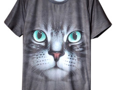 Gray Cute 3D Cat Print Short Sleeve T-shirt Choies.com online fashion store USA