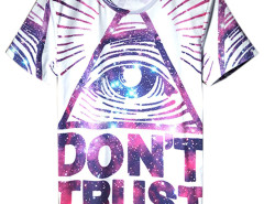 White Letter and Eye Print Short Sleeve T-shirt Choies.com online fashion store USA