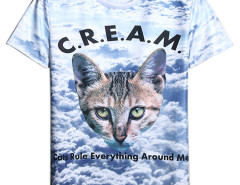 Multicolor Letter and Animal Print Short Sleeve T-shirt Choies.com online fashion store USA