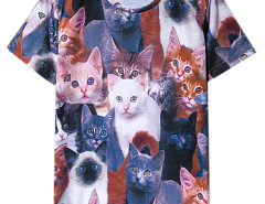 Multicolor Cats Print Short Sleeve T-shirt Choies.com online fashion store USA