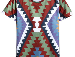Multicolor Geometry Print Short Sleeve T-shirt Choies.com online fashion store USA