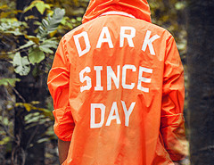 Fluorescent Orange Letter Print Back Hooded Lightweight Jacket Choies.com online fashion store USA