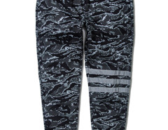 Green Camo Stripe Print Knee Tapered Jogger Pants Choies.com online fashion store USA