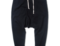 Black Drop Crotch Fit Drawstring Waist Joggers Choies.com online fashion store USA