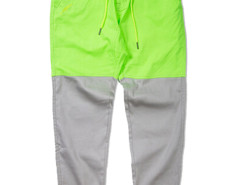 Green Yellow Color Block Drawstring Waist Tapered Jogger Pants Choies.com online fashion store USA