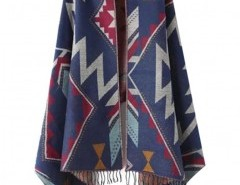 Geo-Tribal Cape with Fringed Trim Chicnova online fashion store China