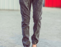 Black Drawstring Waist Wash Tapered Jeans Choies.com online fashion store USA