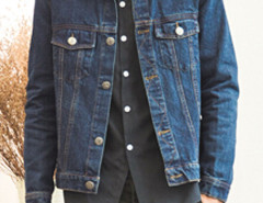 Dark Blue Retro Button Front Denim Jacket Choies.com online fashion store USA