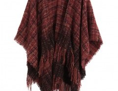 Fringed Cape Coat in Plaid Chicnova online fashion store China