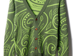 Men's Green V-neck Button Up Long Sleeve Knitted Cardigan Choies.com online fashion store USA