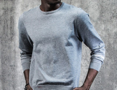 Gray Stripe Sleeve Plain Jumper Choies.com online fashion store USA