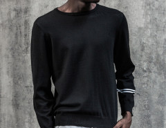 Black Stripe Sleeve Plain Jumper Choies.com online fashion store USA