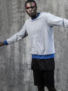 Gray Diamond Print Contrast Trims Sweatshirt Choies.com online fashion store USA