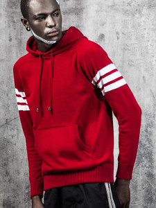 Red Striped Sleeve Pocket Front Hooded Jumper Choies.com online fashion store USA