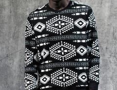 Black Contrast Totem Aztec Print Sweatshirt Choies.com online fashion store USA