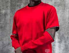 Red Zip Detail Long Sleeve Plain Sweatshirt Choies.com online fashion store USA