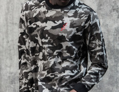 Camo Print Embroidery Zip Side Sweatshirt Choies.com online fashion store USA