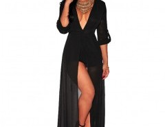 V-plunge Jumpsuit with Thigh Split Chicnova online fashion store China