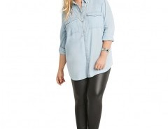 Plus Size Mid-rise PU Leggings Chicnova online fashion store China