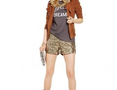 Metallic Shorts in All Over Sequin Chicnova online fashion store China
