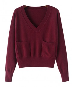 V-neck with Pocket Sweater Chicnova online fashion store China