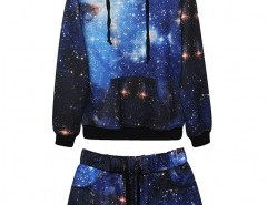 Starry Sky Print Sweatshirt and Shorts Chicnova online fashion store China