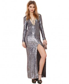 Sequin Maxi Dress with Plunge Front Chicnova online fashion store China