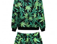 Leaf Print Sweatshirt and Shorts Chicnova online fashion store China