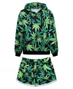 Leaf Print Sweatshirt and Shorts Chicnova online fashion store China
